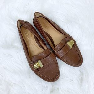 Coach Pebble Leather Buckle Detailed Loafers Flats
